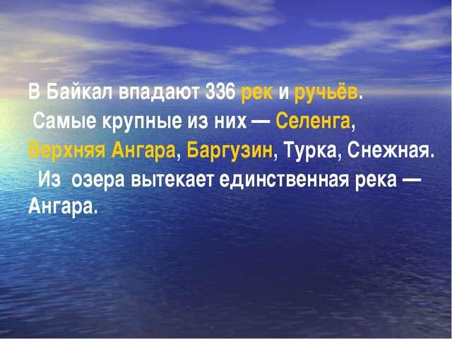 В Байкал впадают 336 рек и ручьёв. Самые крупные из них— Селенга, Верхняя Ан...