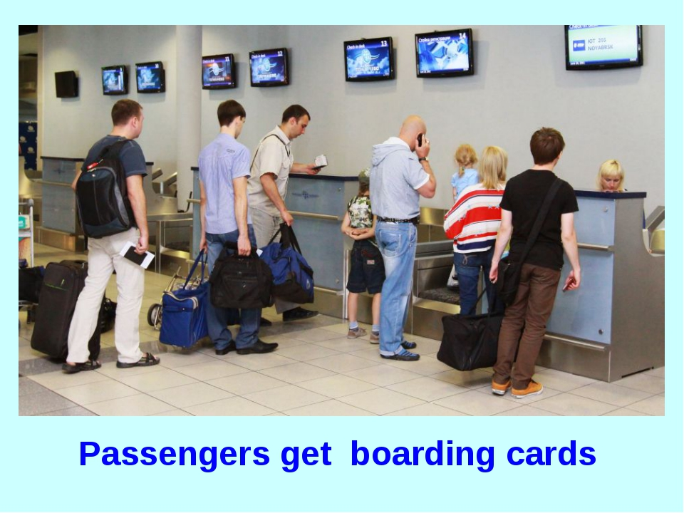 Passengers get boarding cards