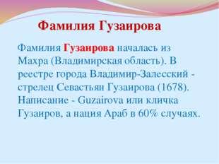 Фамилия Гузаирова началась из Махра (Владимирская область). В реестре города