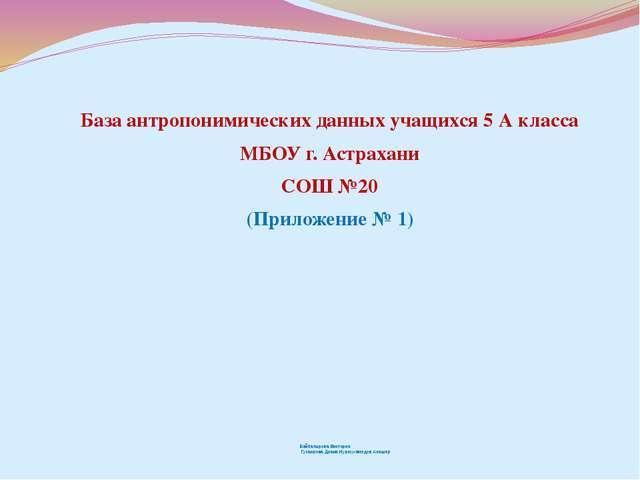 База антропонимических данных учащихся 5 А класса МБОУ г. Астрахани СОШ №20 (...