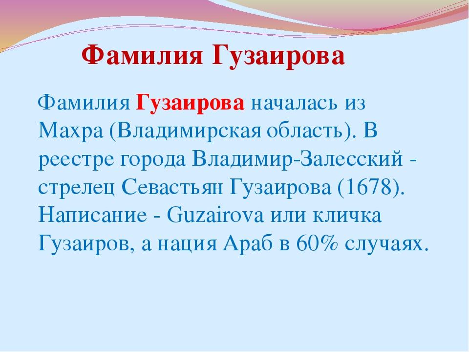 Фамилия Гузаирова началась из Махра (Владимирская область). В реестре города...