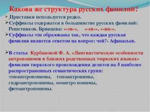 Приставки используется редко. Суффиксы содержатся в большинстве русских фами