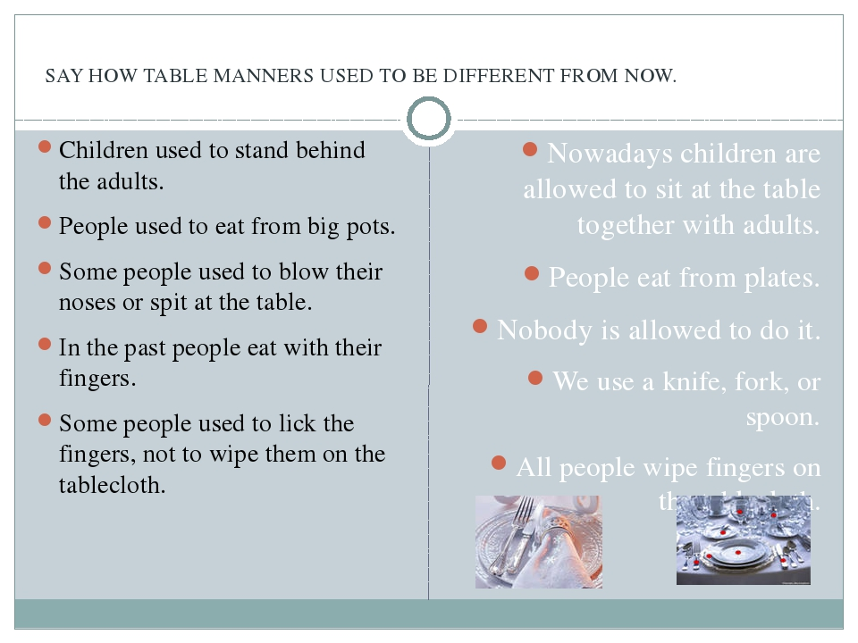 SAY HOW TABLE MANNERS USED TO BE DIFFERENT FROM NOW. Children used to stand...