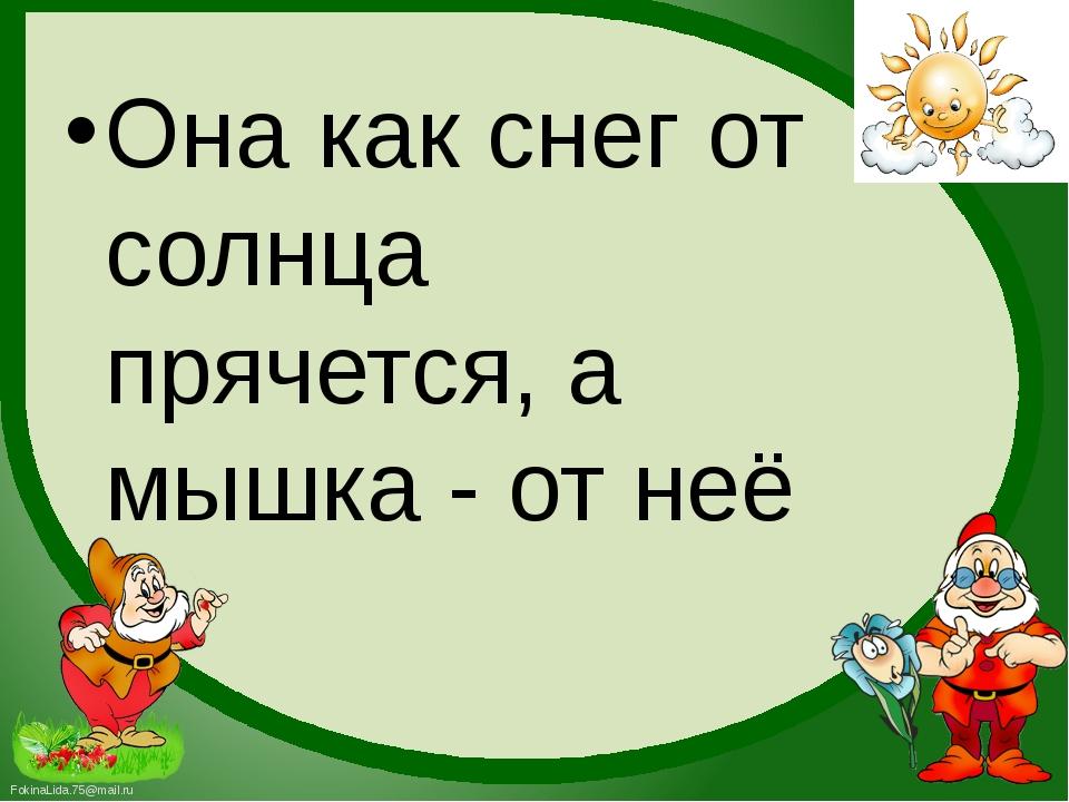 Она как снег от солнца прячется, а мышка - от неё FokinaLida.75@mail.ru