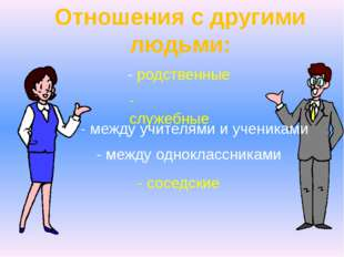 Отношения с другими людьми: - родственные - служебные - между учителями и уче