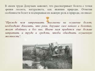 В своем труде Докучаев заявляет, что рассматривает болота с точки зрения геол
