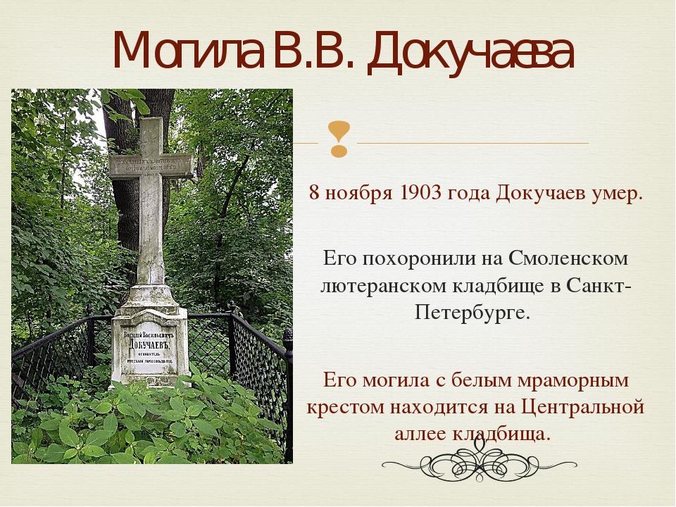 8 ноября 1903 года Докучаев умер. Его похоронили на Смоленском лютеранском кл...