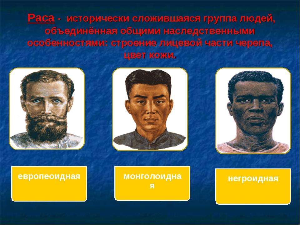 Раса - исторически сложившаяся группа людей, объединённая общими наследствен...