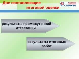 Две составляющие итоговой оценки результаты промежуточной аттестации резул