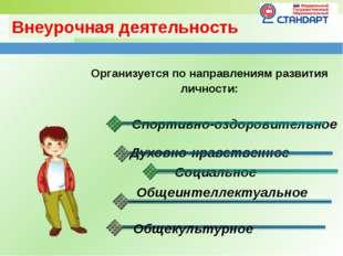 Внеурочная деятельность Организуется по направлениям развития личности: Спорт
