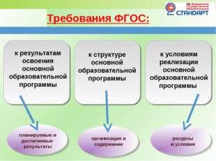 Требования ФГОС: к результатам освоения основной образовательной программы к