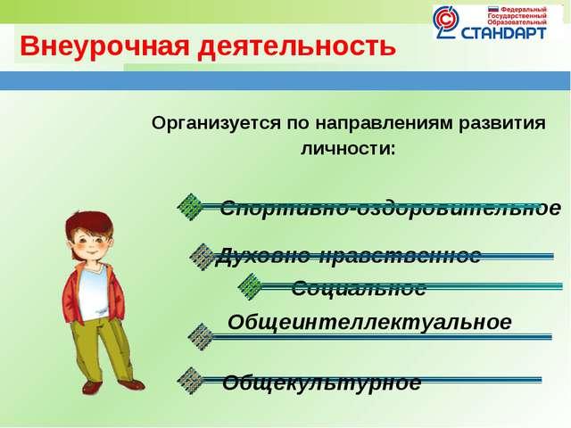 Внеурочная деятельность Организуется по направлениям развития личности: Спорт...