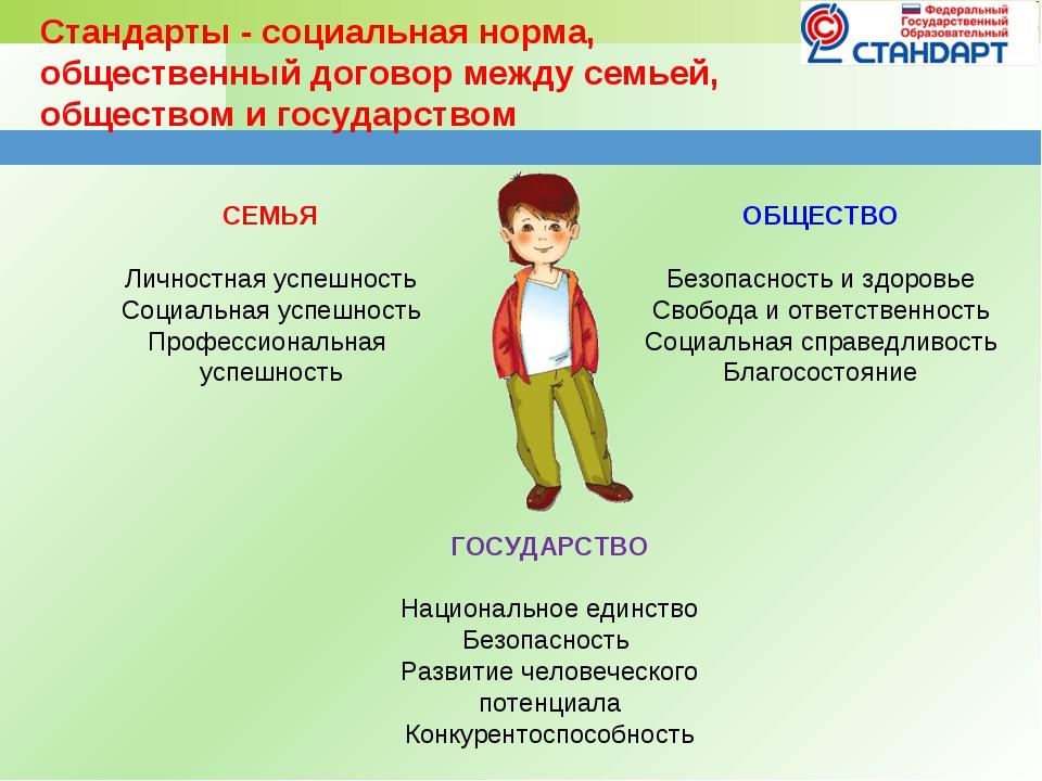 Стандарты - социальная норма, общественный договор между семьей, обществом и...