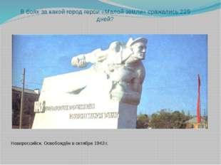 В боях за какой город герои «Малой земли» сражались 225 дней? Новороссийск. О
