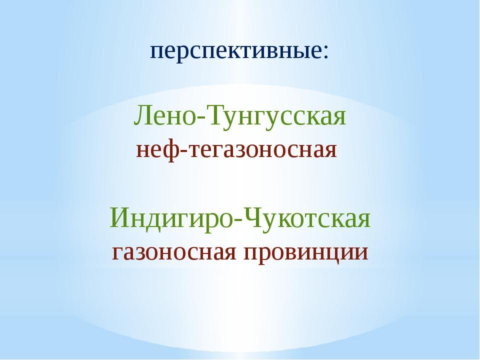 перспективные:  Лено-Тунгусская нефтегазоносная Индигиро-Чукотская газоносн...
