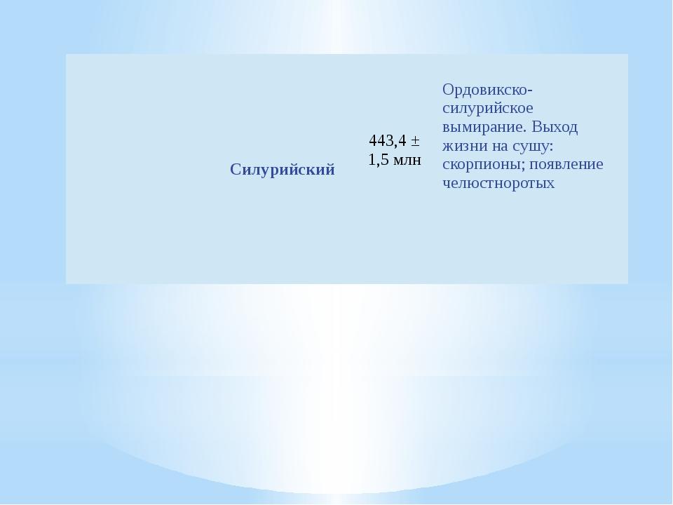 Силурийский 443,4± 1,5 млн Ордовикско-силурийскоевымирание. Выход жизни н...