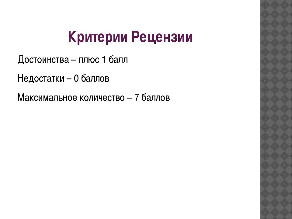 Критерии Рецензии Достоинства – плюс 1 балл Недостатки – 0 баллов Максимально...