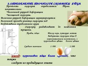 2.ОПРЕДЕЛЕНИЕ ПРОЧНОСТИ СКОРЛУПЫ ЯЙЦА Прочность скорлупы определяется двумя п