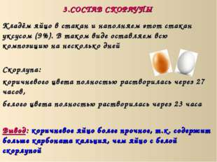 3.СОСТАВ СКОРЛУПЫ Скорлупа: коричневого цвета полностью растворилась через 27
