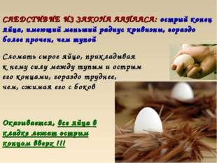 СЛЕДСТИВИЕ ИЗ ЗАКОНА ЛАПЛАСА: острый конец яйца, имеющий меньший радиус криви