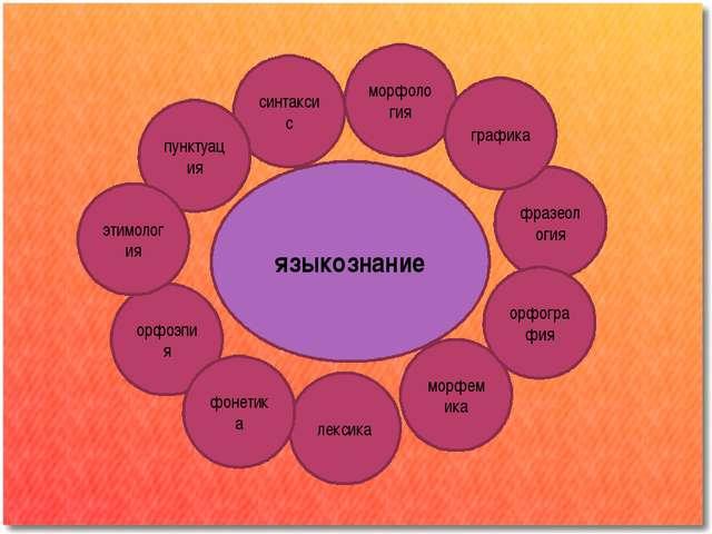 языкознание орфоэпия фразеология синтаксис пунктуация морфология этимология л...