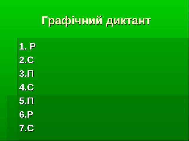 Графічний диктант 1. Р 2.С 3.П 4.С 5.П 6.Р 7.С