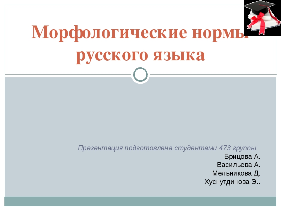 Морфологические нормы русского языка Презентация подготовлена студентами 473...