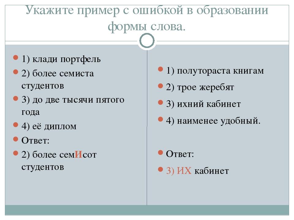 Укажите пример с ошибкой в образовании формы слова. 1) клади портфель 2) боле...