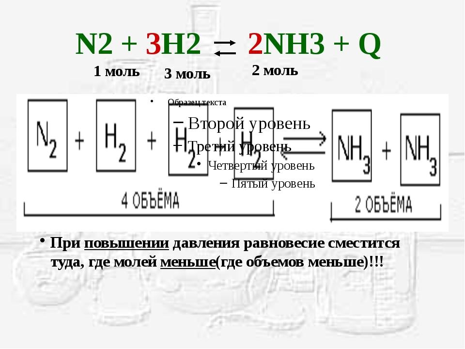 N2 + 3H2 2NH3 + Q При повышении давления равновесие сместится туда, где молей...