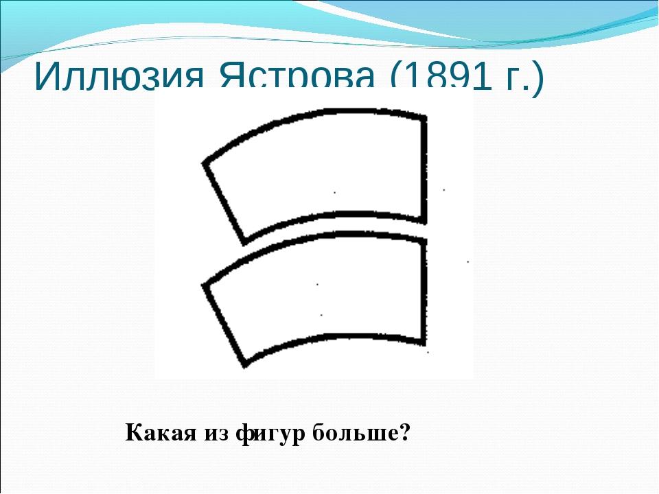 Иллюзия Ястрова (1891 г.) Какая из фигур больше?