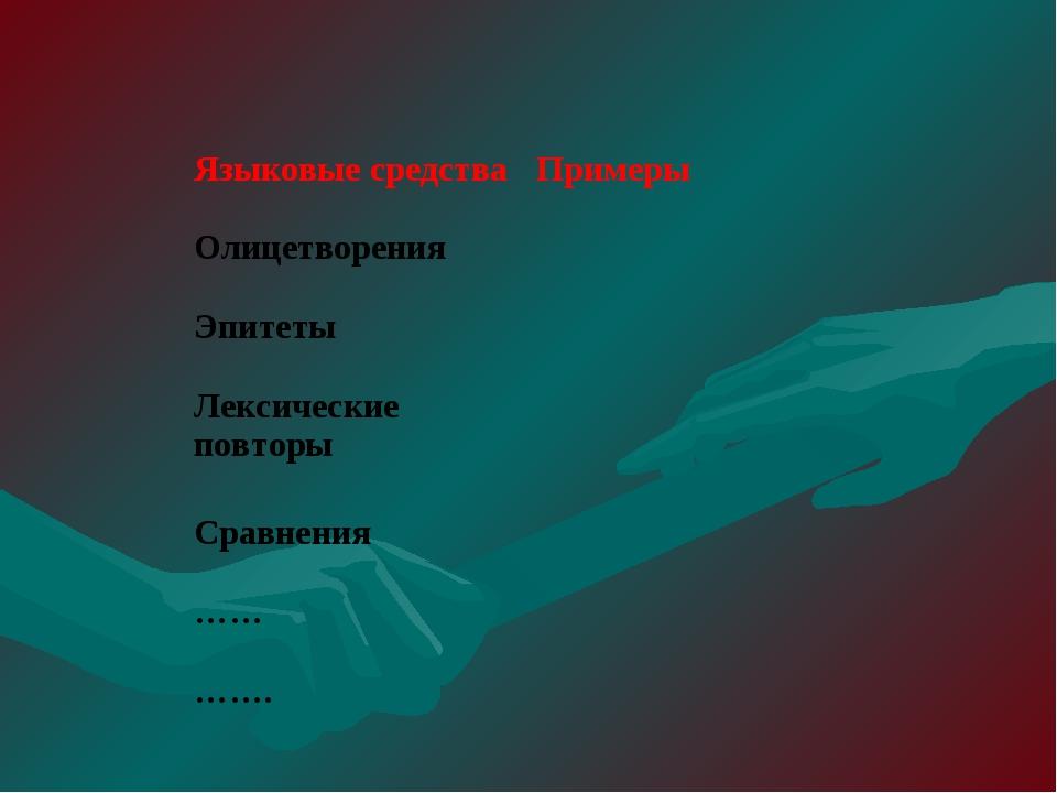 Языковые средстваПримеры Олицетворения Эпитеты Лексические повторы  Сравн...