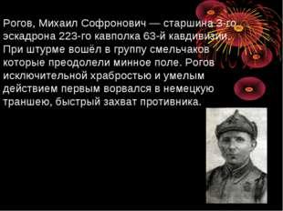 Рогов, Михаил Софронович— старшина 3-го эскадрона 223-го кавполка 63-й кавди