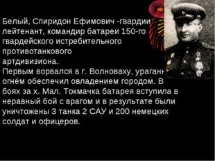 Белый, Спиридон Ефимович -гвардии лейтенант, командир батареи 150-го гвардейс