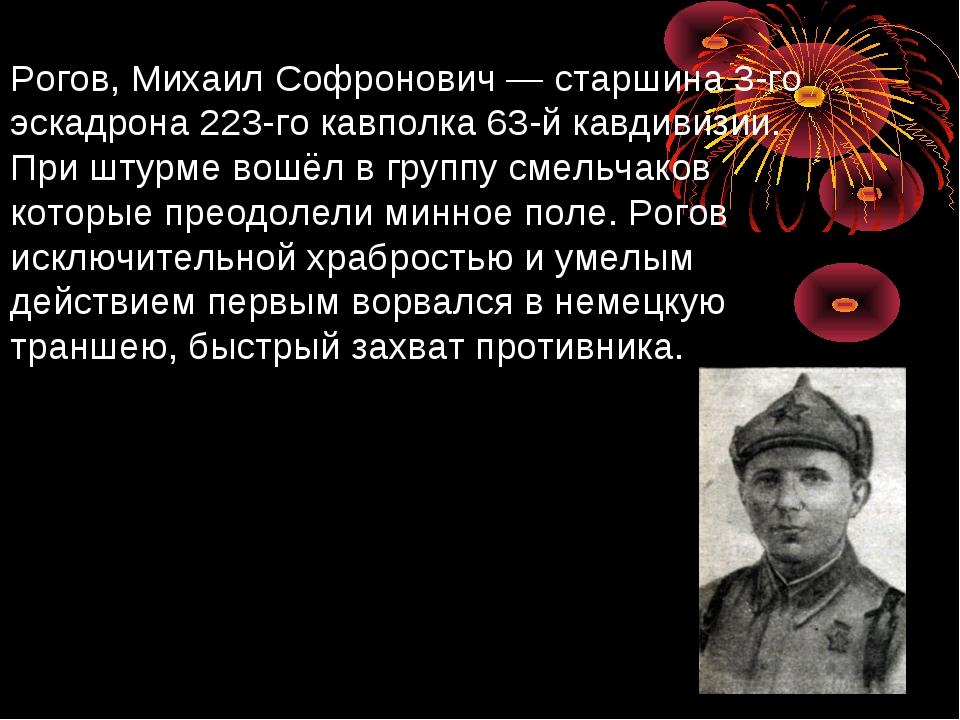 Рогов, Михаил Софронович— старшина 3-го эскадрона 223-го кавполка 63-й кавди...