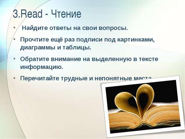 3.Read - Чтение Найдите ответы на свои вопросы. Прочтите ещё раз подписи под...
