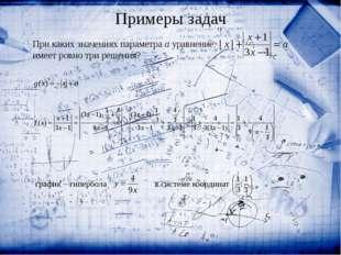 При каких значениях параметра a уравнение  имеет ровно три решения? график