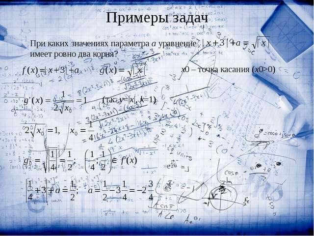 При каких значениях параметра a уравнение  имеет ровно два корня? x0 – точк...