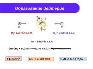 Образование дейтерия Мя = 2,013553 а.е.м. ∆ Е = 2, 224 Мэв 1 эВ =1,6 10 -19