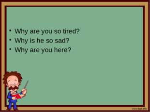 Why are you so tired? Why is he so sad? Why are you here?