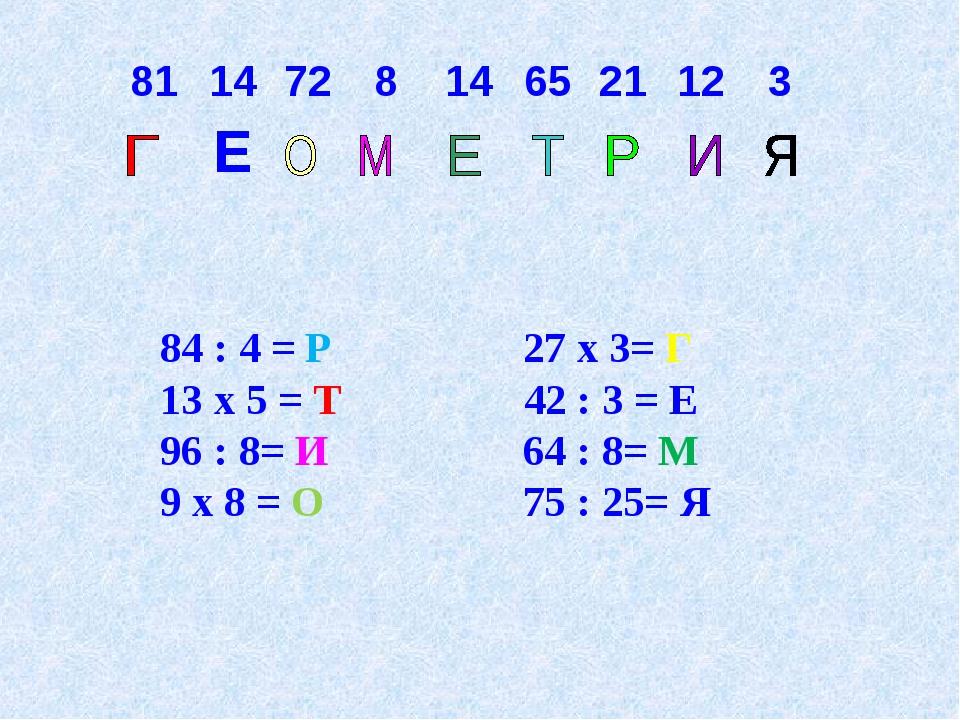84 : 4 = Р 27 х 3= Г 13 х 5 = Т 42 : 3 = Е 96 : 8= И 64 : 8= М 9 х 8 = О...