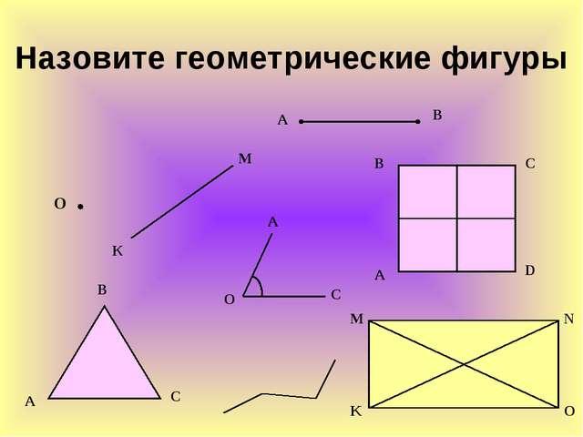 Назовите геометрические фигуры К М А В О А В С А О С С В А D K M N O