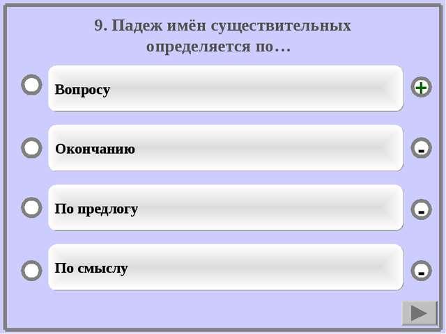 9. Падеж имён существительных определяется по… Вопросу Окончанию По предлогу...