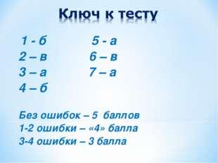 1 - б 5 - а 2 – в 6 – в 3 – а 7 – а 4 – б Без ошибок – 5 баллов 1-2 ошибки –