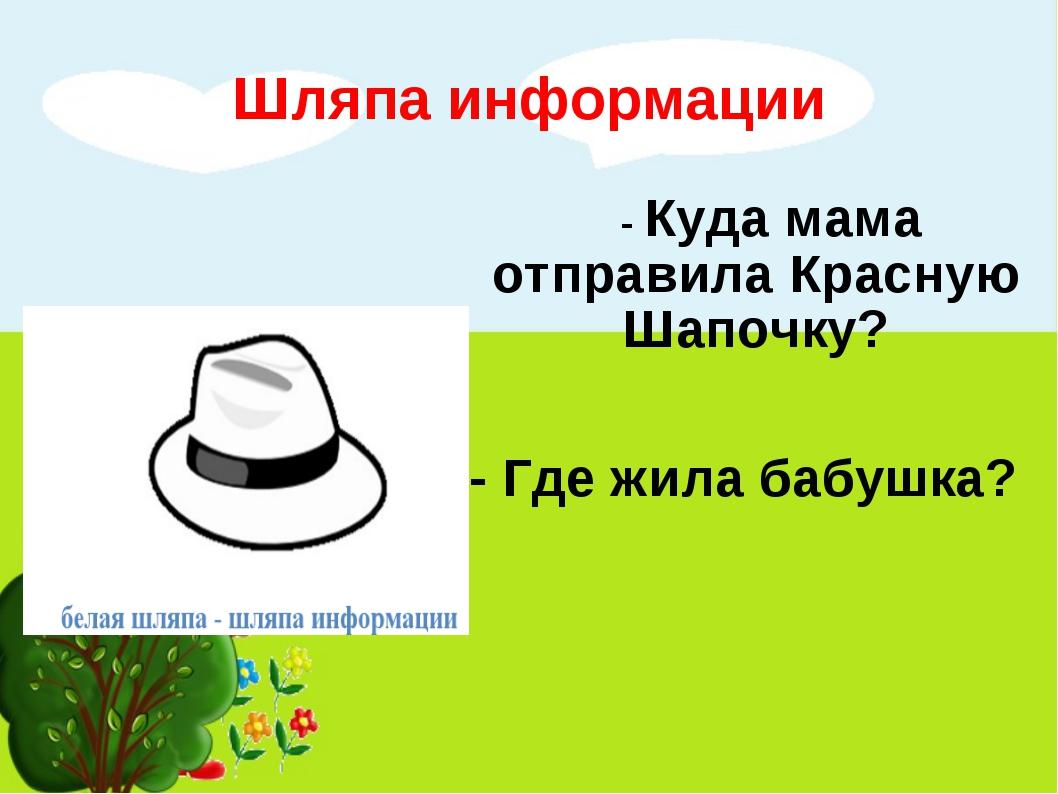 Шляпа информации - Куда мама отправила Красную Шапочку? - Где жила бабушка?