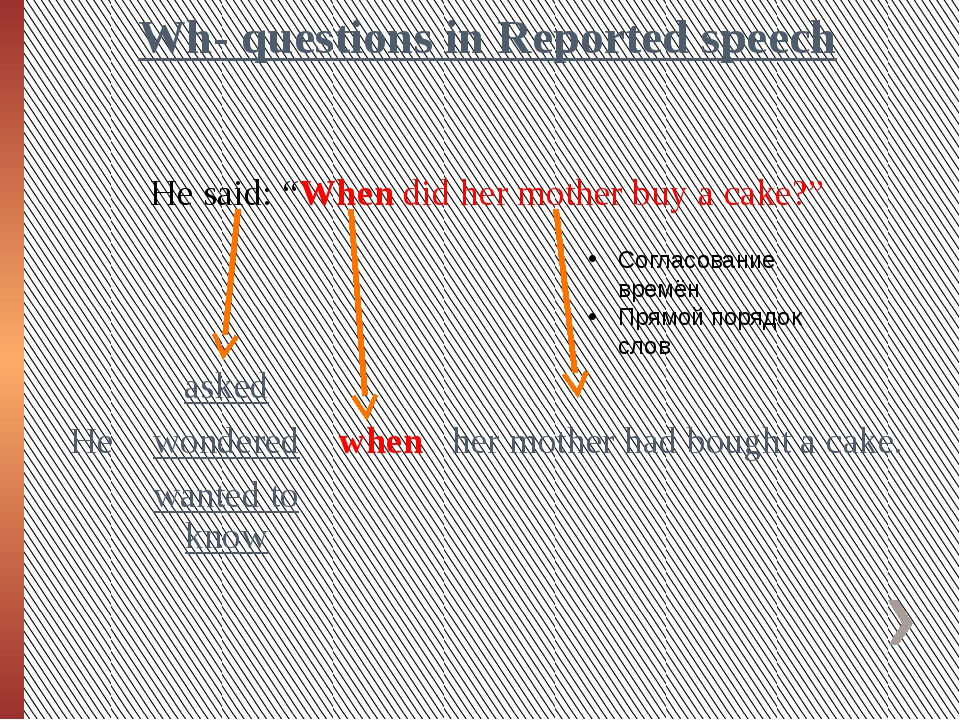 "Wh- questions in Reported speech He said: ""When did her mother buy a cake?"" С..."