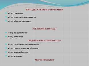 МЕТОДЫ УЧЕБНОГО ПОЗНАНИЯ Метод сравнения Метод эвристических вопросов Метод о