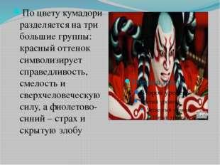По цвету кумадори разделяется на три большие группы: красный оттенок символи