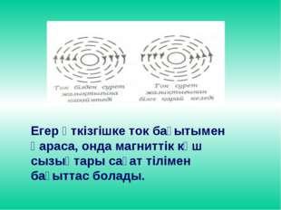 Егер өткізгішке ток бағытымен қараса, онда магниттік күш сызықтары сағат тілі