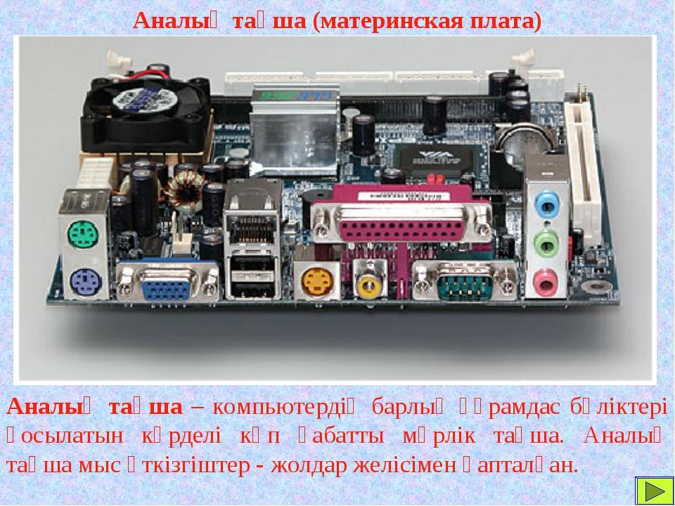 Аналық тақша (материнская плата) Аналық тақша – компьютердің барлық құрамдас...