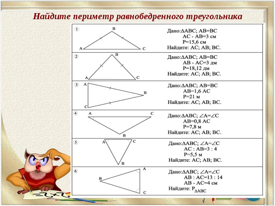 Найдите периметр равнобедренного треугольника